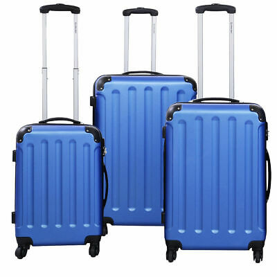 GLOBALWAY 3 Pcs Luggage Travel Set Bag ABS-PC Trolley Suitcase Blue