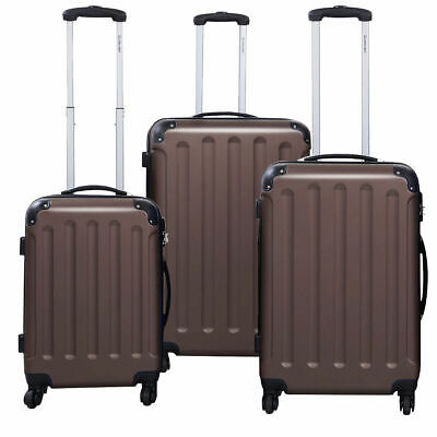 GLOBALWAY 3 Pcs Luggage Travel Set Bag ABS-PC Trolley Suitcase Brown
