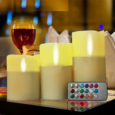 New Set of 3 LED Ivory Color Flameless Candles With Remote Control 4 5 6