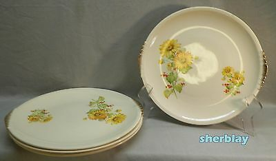 RARE The PADEN CITY POTTERY Yellow Daisies Red Flowers DINNER PLATE Lot of 4