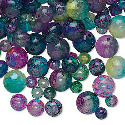 BULK 600 - Jewel Glass Beads Assorted Color Mixed Sizes - Shapes 4mm - 8mm