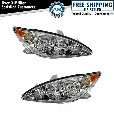 Headlights Headlamps w Chrome Trim LeftRight Pair Set for 05-06 Camry LE - XLE