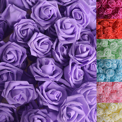 100PCS 2-8 Fake Flowers Artificial Roses for Bouquet Wedding Table Centerpieces