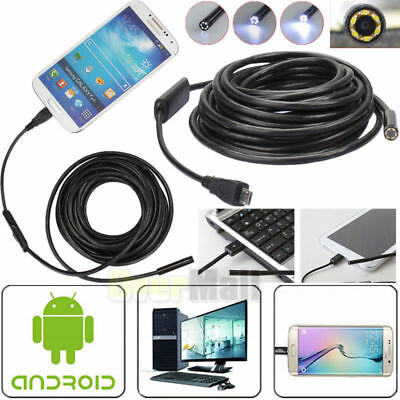 3-55M 7mm Android Endoscope Waterproof Borescope USB Inspection Camera 6 LED