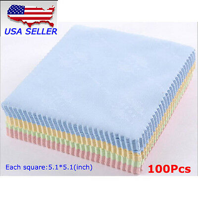 100pcs Microfiber Phone Screen Camera Lens Glasses Cleaning Cloth Square Cleaner