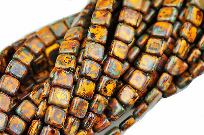 50 Yellow Picasso 2 Hole Czech Glass Flat Square Beads 6MM