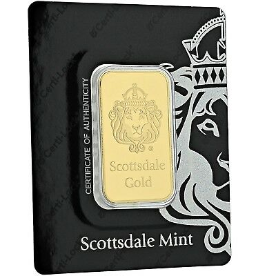 SPECIAL PRICE 1 oz -9999 Gold Bar by Scottsdale Mint in Certi-LOCK COA A389