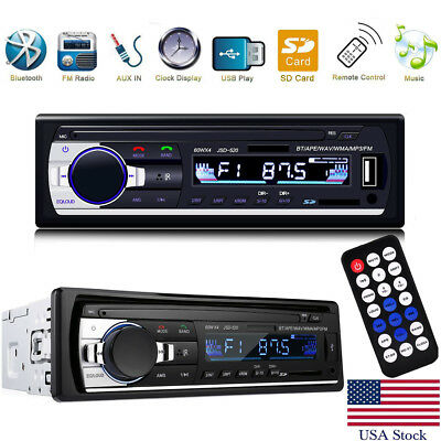 Car Stereo Audio In-Dash FM Aux Input Receiver SD USB MP3 Radio Player 1-DIN 12V