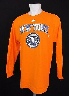 New York Knicks NBA adidas Mens Long Sleeve Orange Shirt