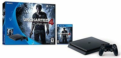 Sony PlayStation 4 Slim 500GB Console Uncharted 4 A Thiefs End PS4 Game Bundle