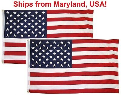 3x5 Ft American Flag w Grommets 2 Pack USA United States of America US Flags