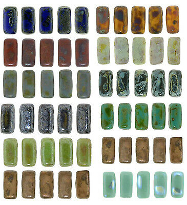 50 CzechMates Brick Glass Beads 2 Hole Two Hole 3x6mm Exquisite Picasso Colors