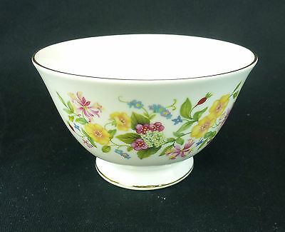 Colclough Hedgerow Open Sugar Bowl England Bone China Floral Gold Trim Yellow