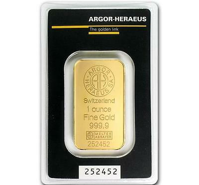 1 oz Gold Bar Argor Heraeus -9999 Gold in Sealed Assay Card A314