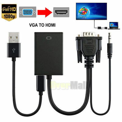 VGA Male To HDMI Output 1080P HD- Audio TV AV HDTV Video Cable Converter Adapter