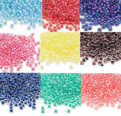 200 Inside Color Matsuno 60 Glass Seed Beads Translucent - Rainbow Spacer Beads