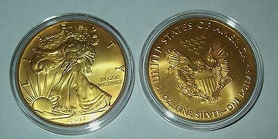 2017 24K Gold Gilded American Silver Eagle 1 Troy Oz- -999 Fine One Dollar Coin