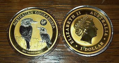 2017 Australian Kookaburra  Rooster Privy 24K Gold Gilded Silver 1 Troy Oz Coin