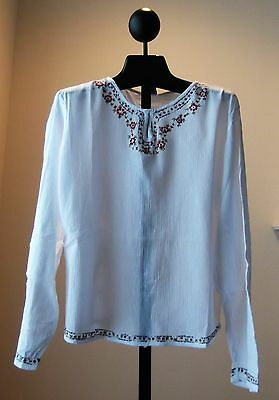 NWT Geeta White Cotton Embroidery Bohemian Gypsy Top Blouse One Size Fits S M L