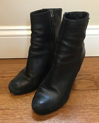 Prada Black Leather Wedge Ankle Boots Shoes Womens Size 37-5 US 7-5