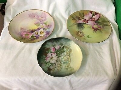 3 Vintage Hand Painted Plates  Flowers Grapes