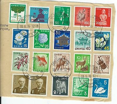 COLLECTION OF 20 JAPAN STAMPS ON SHEET USED  LIGHT CANCELLS