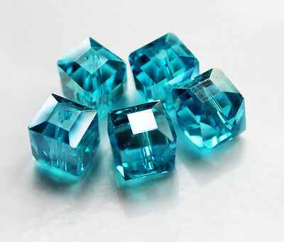 10mm Aqua Green Faceted Square Cube Cut Glass Crystal Loose Spacer Beads 10Pcs