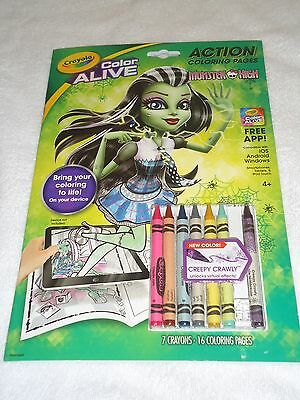 NEW CRAYOLA COLOR ALIVE ACTION COLORING PAGES CRAYONS MONSTER HIGH