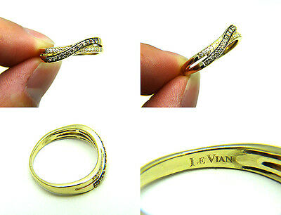 Authentic Le Vian Chocolate White Diamond 14k Solid Yellow Honey Gold Ring Band