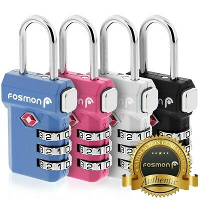Fosmon 4x TSA Approve 3 Digit Combination Resettable Travel Luggage Lock Padlock