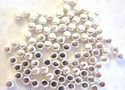 100 Bright Silver Plated Roundish Square Beads 4MM