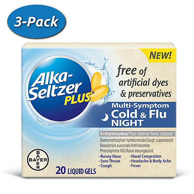 3 Pack Alka-Seltzer Plus Night Cold - Flu Multi-Symptom Relief Liquid Gels 60 ct