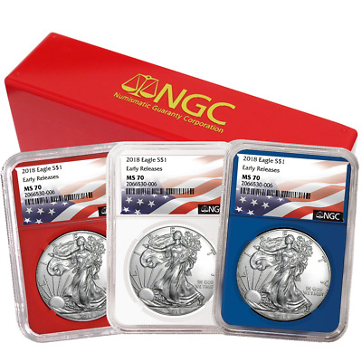 2018 1 American Silver Eagle 3 pc- Set NGC MS70 Flag ER Label Red White Blue