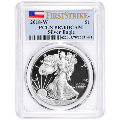 2018-W Proof 1 American Silver Eagle PCGS PR70DCAM First Strike Label