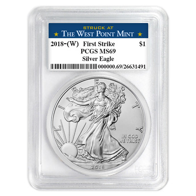 2018 W 1 American Silver Eagle PCGS MS69 West Point First Strike Label