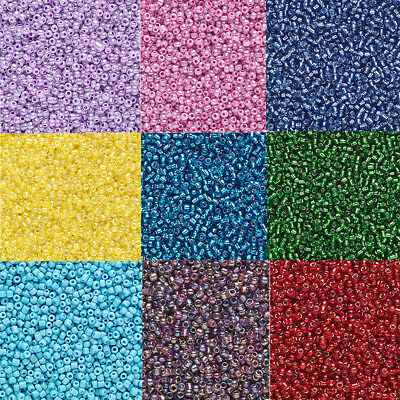 2000 Tiny Round Glass Seed Beads Loose  20 Grams   11 Transparent Colors 110