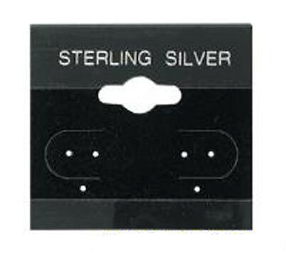 50 Acrylic - Velour Flocked Black Sterling Silver Earring Hang Cards 1-5 x 1-5