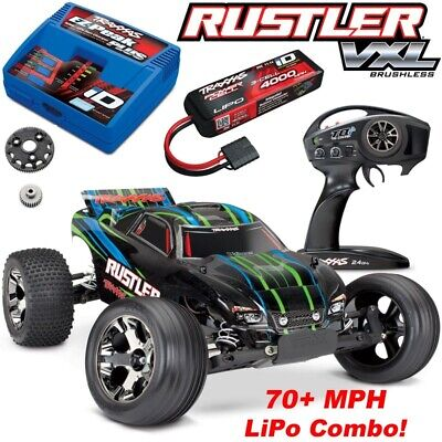 Traxxas 37076-4 Rustler VXL Brushless RC Stadium Truck wTSM - Rock-N-Roll Body