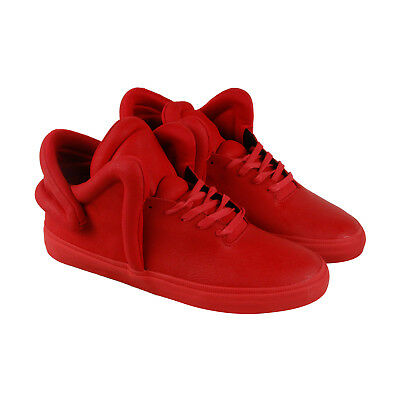 Supra Falcon Mens Red Leather High Top Lace Up Sneakers Shoes