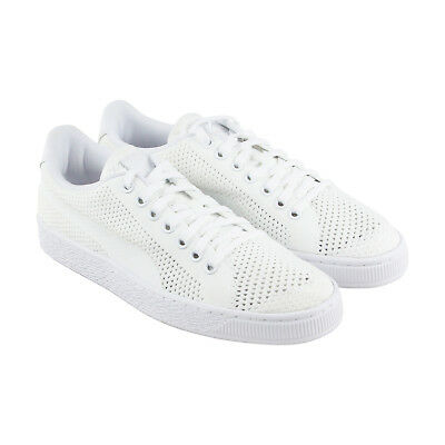 Puma Basket Classic Evoknit Mens White Textile Lace Up Sneakers Shoes