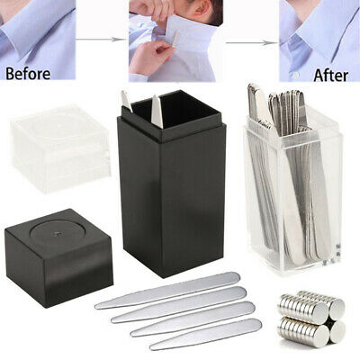 4010 Metal Collar Stays Stiffeners - 10 Magnets for Men Shirts 4 Sizes with Box