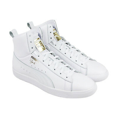 Puma Clyde Mid Core Foil Mens White Leather High Top Lace Up Sneakers Shoes