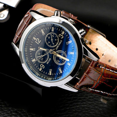 Mens Leather Military Casual Analog Quartz Wrist Watch Business Watches Gifts