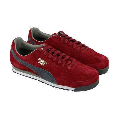 Puma Roma Mens Red Suede Lace Up Sneakers Shoes