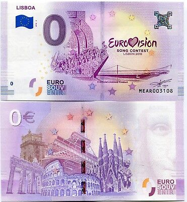 Eurovision Song Contest 2018 Lisbon Portugal 0 Euro Souvenir Note 2 FINAL
