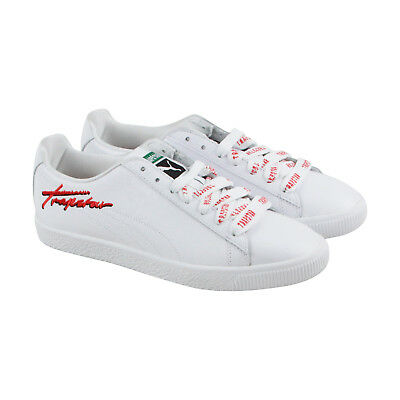 Puma X Trapstar Clyde Mens White Suede Lace Up Sneakers Shoes