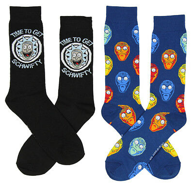 Rick And Morty Time To Get Schwifty Mens 2 Pack Crew Socks