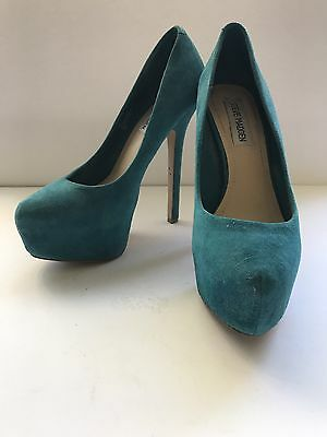 Steve Madden Dejavu Leather Upper Stiletto Heel Platform Pump Size 7 Teal