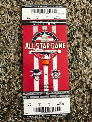 2018 MLB All Star Game TICKET STUB UNUSED MINT BASEBALL 717 Judge Trout HR