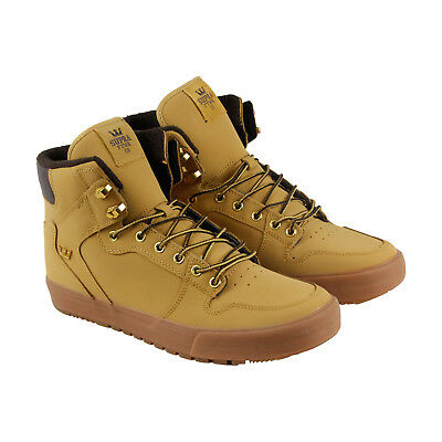 Supra Vaider Mens Tan Leather High Top Lace Up Sneakers Shoes